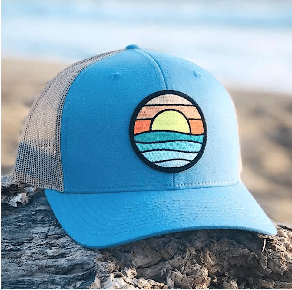 Tommy breeze hat CURVED-BRIM TRUCKER (OCEAN/SAND) WITH SERENITY PATCH